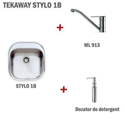 Pachet TEKAWAY(chiuveta STYLO 1B 465x485+baterie ML/MF2+dozator detergent) TEKA